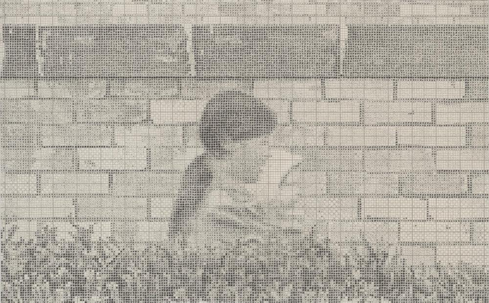Mother and child, walking past, council housing estate, brick wall,