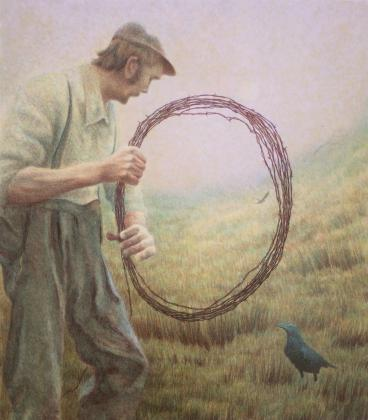 a raven with a farmer holding a circle of barbed wire