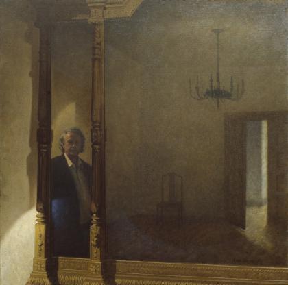 Fritz von der Schulenberg looking back at us in a large mirror