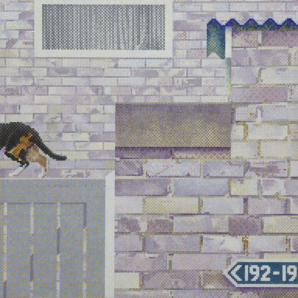 Council housing estate brick walls, cat, dots, squares, back gate,