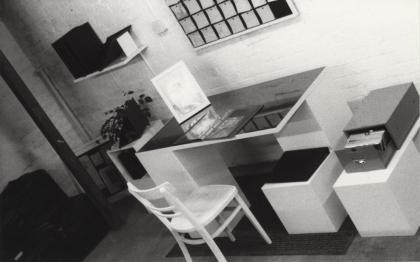 Installation, box files, card index, office desk,